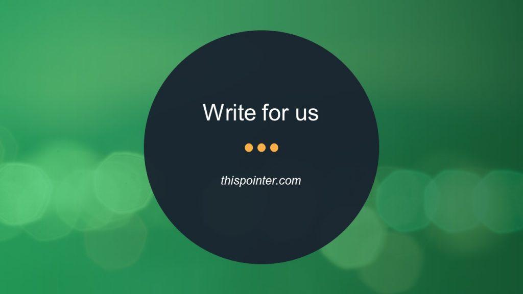 Write for thispointer.com