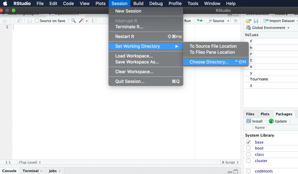 Set current working directory in R studio